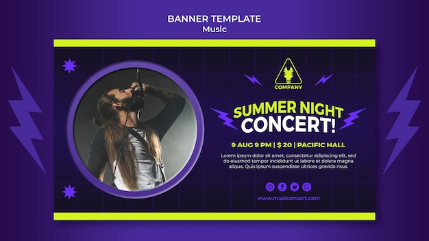 Modello di banner orizzontale al neon per il concerto notturno d'estate