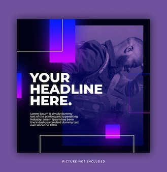 Neon instagram post template  elegant trendy dynamic