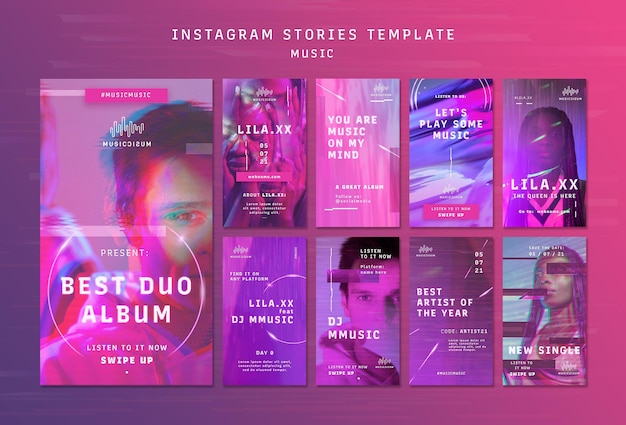 Neon instagram stories collection for music with artist