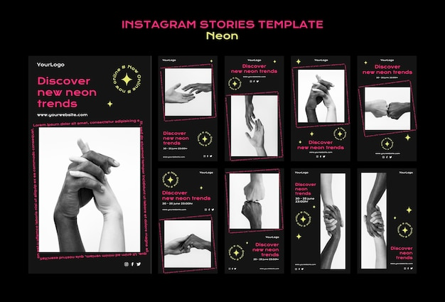 Neon instagram stories collection for new online trends