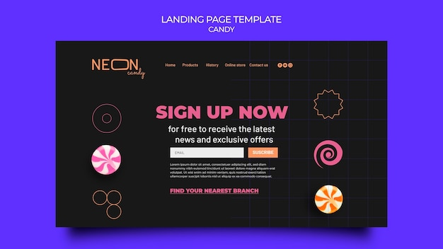 Neon landing page for candy store
