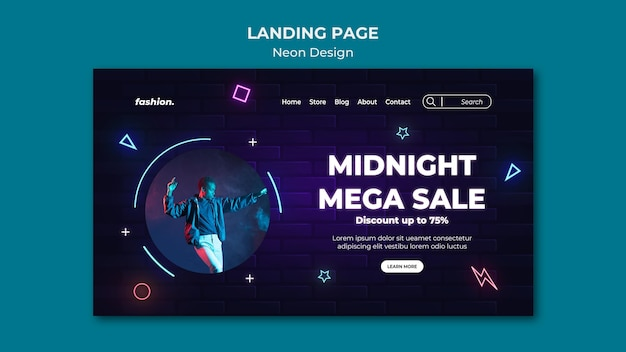 Neon landing page for clothing store sale