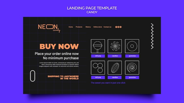 Neon landing page template for candy store