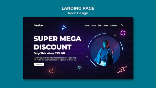 Neon landing page template for clothing store sale