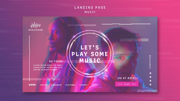 Neon landing page template for music with artist