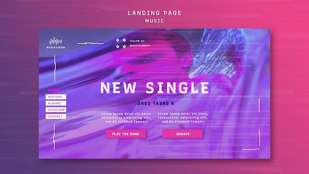 Modello di pagina di destinazione al neon per la musica con l'artista
