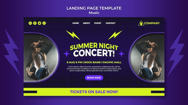 Neon landing page template for summer night concert