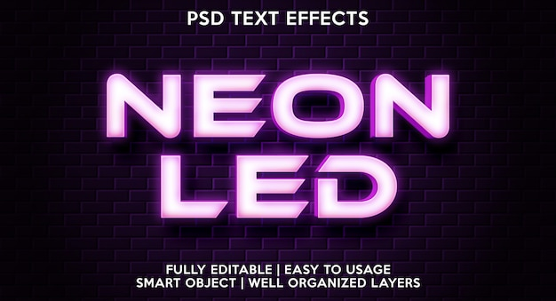 Neon led text effect template