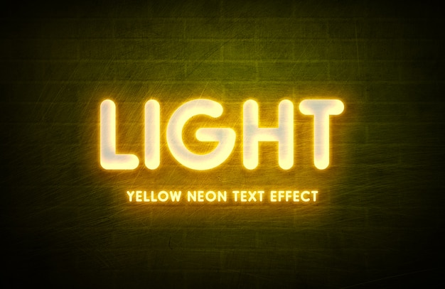 Neon light 3d text style effect template