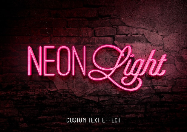Neon light custom text effect