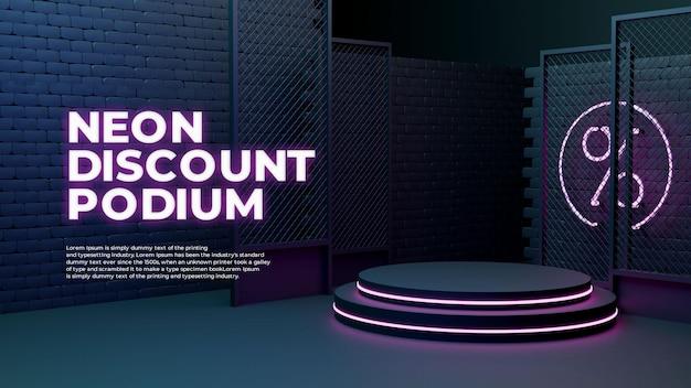 Неоновый свет glow sale 3d realistic podium product promo display