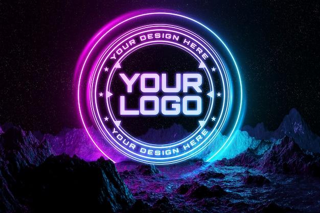 Неоновый свет логотип макет