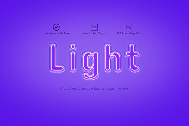 Neon text effect with two color scheme PSD file | Free Download