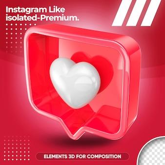Neon like instagram isolated in 3d render design