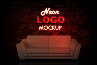 Neon logo mockup with couch