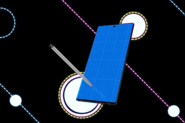Neon mobile & pen mockup
