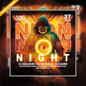 Neon night club party flyer template