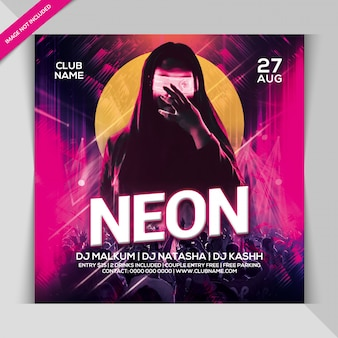 Neon night party banner template