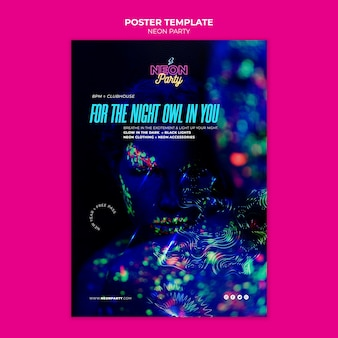 Manifesto del partito di notte al neon