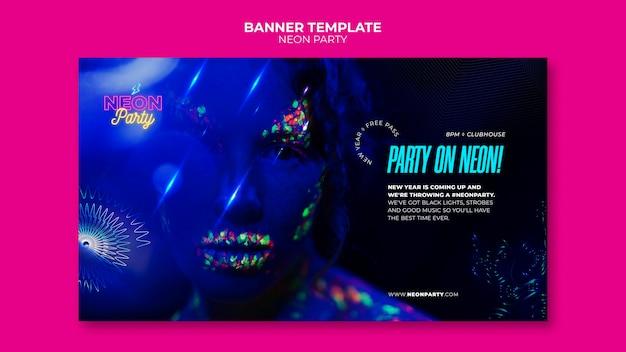 Modello di banner festa al neon Psd Gratuite