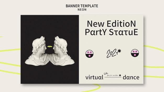 Modello di banner per feste al neon