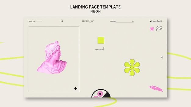 Modello di pagina di destinazione della festa al neon