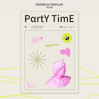 Неоновая вечеринка вертикальный шаблон плаката