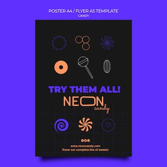 Neon poster template for candy store