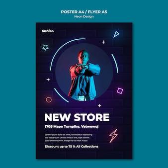Modello di poster al neon per la vendita del negozio di abbigliamento