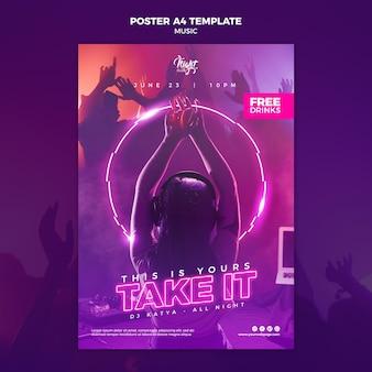 Modello di poster al neon per musica elettronica con dj femminile