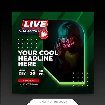 Neon retro concept live streaming instagram post social media stories template