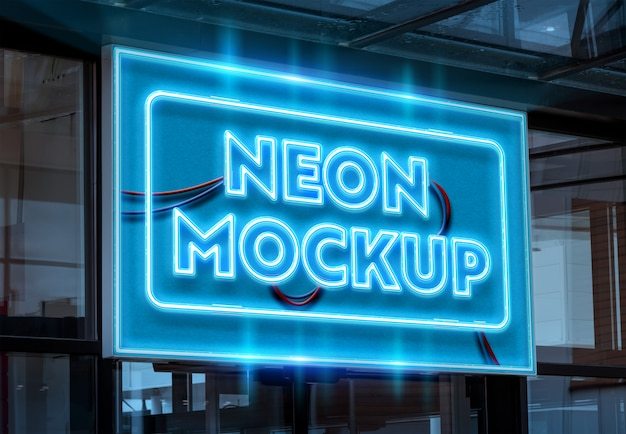 Neon on a shop signage mockup