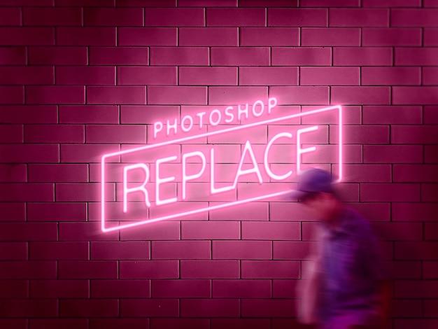Neon sign on brick tile wall mockup