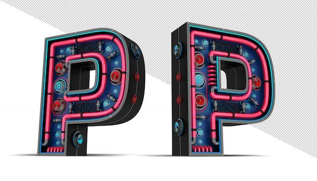 Неоновая вывеска в форме буквы p