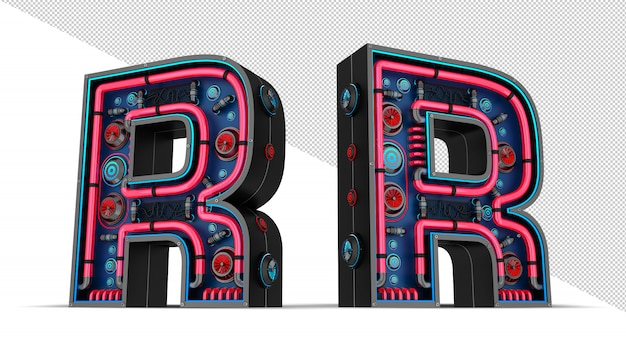 Neon sign in letter r shape