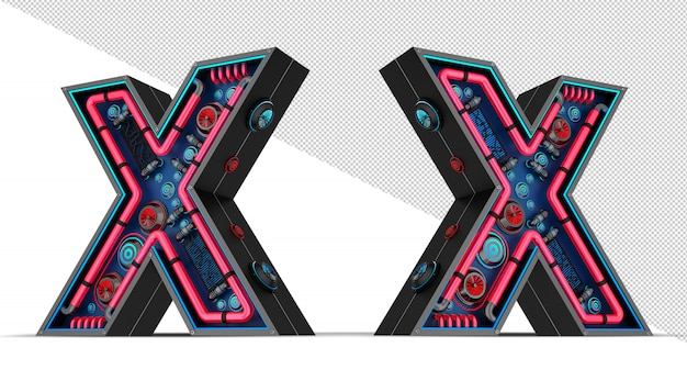 Neon sign in letter x shape