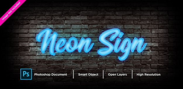 Neon sign text effect design