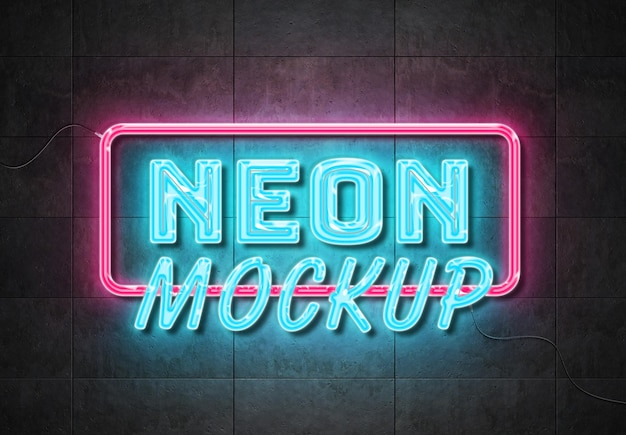 Neon sign text effect on panels wall with wires mockup Premium Psd