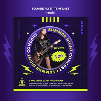 Neon square flyer template for summer night concert