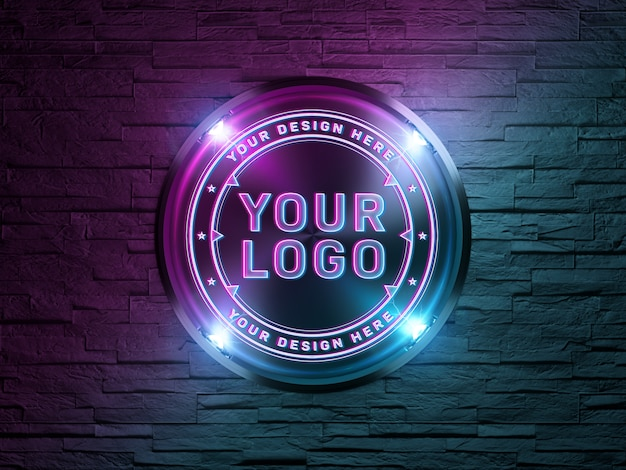 Neon style logo on brick wall mockup