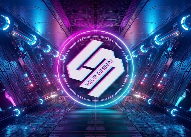 Neon style logo in futuristic interior mockup