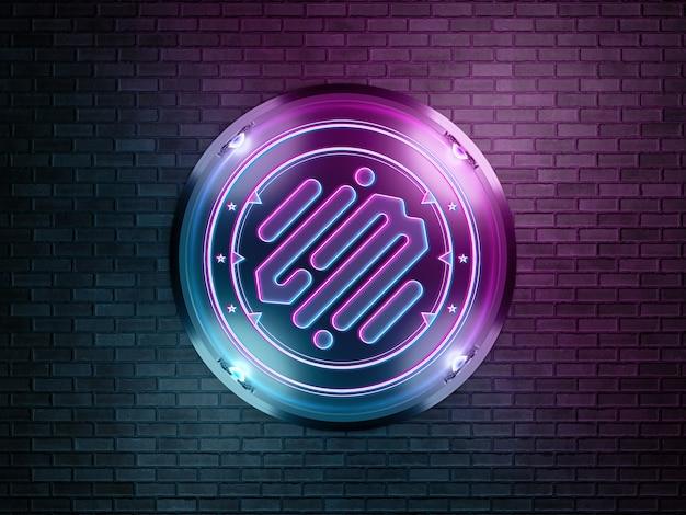 Логотип в неоновом стиле на кирпичной стене макет