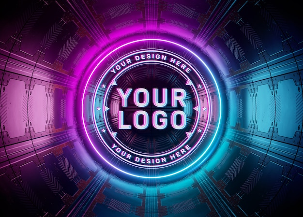 Проекция логотипа в неоновом стиле в подземном макете