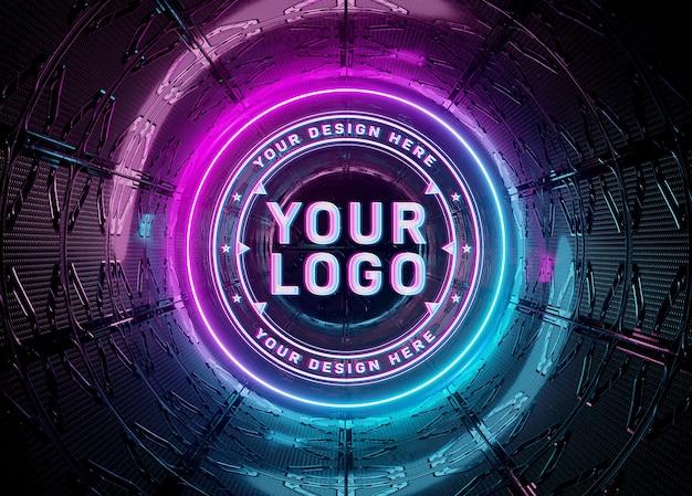 Проекция логотипа в неоновом стиле в подземном мокапе