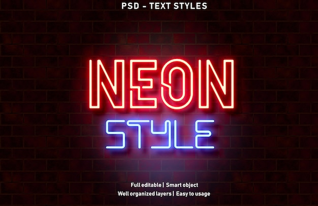 Neon style text effect