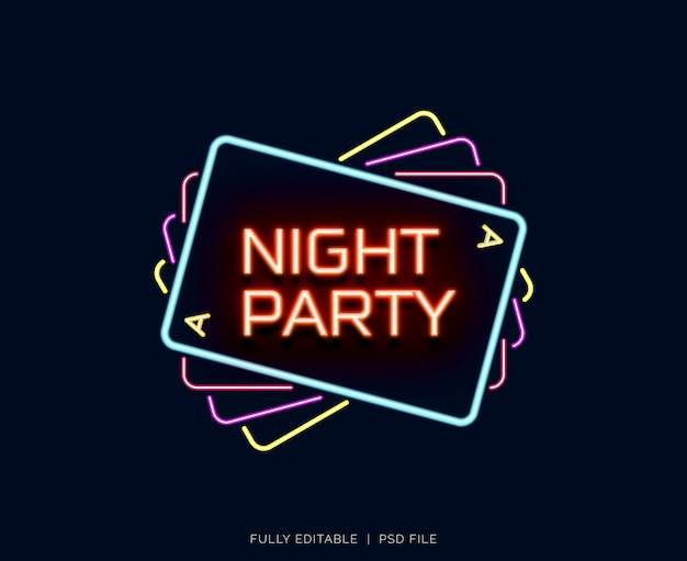 Neon text effect night party