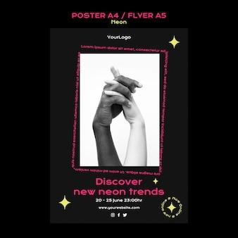 Неоновый вертикальный плакат для новых онлайн-трендов