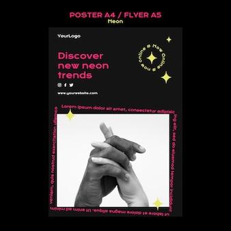 Poster verticale al neon per le nuove tendenze online
