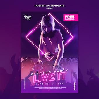Modello di poster verticale al neon per musica elettronica con dj femminile