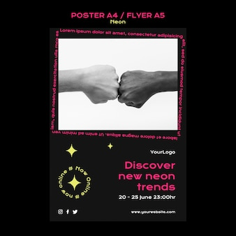 새로운 온라인 트렌드를위한 네온 수직 포스터 템플릿